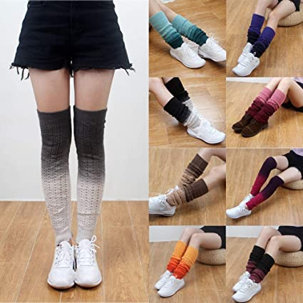 eae6bbcbb3b Pausseo 1 Pair Winter Women Gradual Color Adult Ribbed Knitted Leg Warmers  Socks Dotted Twisted Foot
