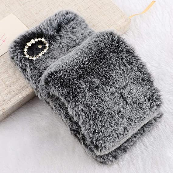online store 19c7a dc1fc Plush Case for iPhone 6 Plus Case iPhone 6S Plus LAPOPNUT Luxury Furry  Fluffy Case Soft Faux Fur Fuzzy Mittens Design Cover with Bling Glitter 3D  ...