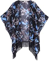 Soul Young Women's Floral Aztec Leopard Light Chiffon Beachwear Cover-ups Kimono Cardigan Outfit