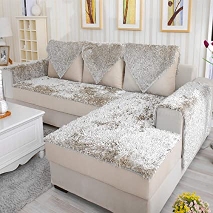 Bon WJXu0026Likerr Plush Sofa Cushion,Four Seasons Sofa Cover European Couch Cover  Leather Sofa Protector Cotton