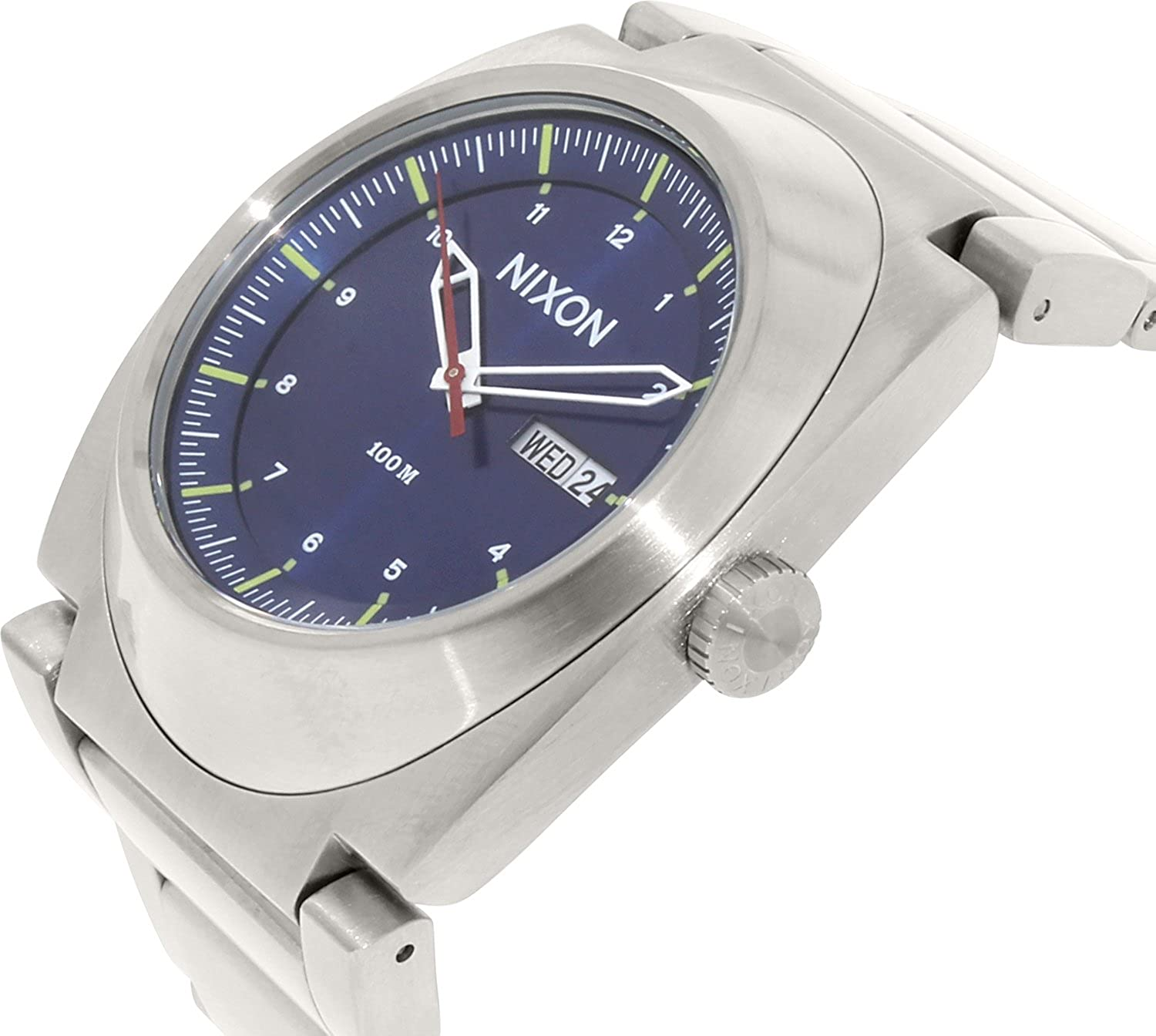 Amazon.com: Nixon Mens A358-1258 The Don Silver/Blue Stainless Steel Watch: Nixon: Watches