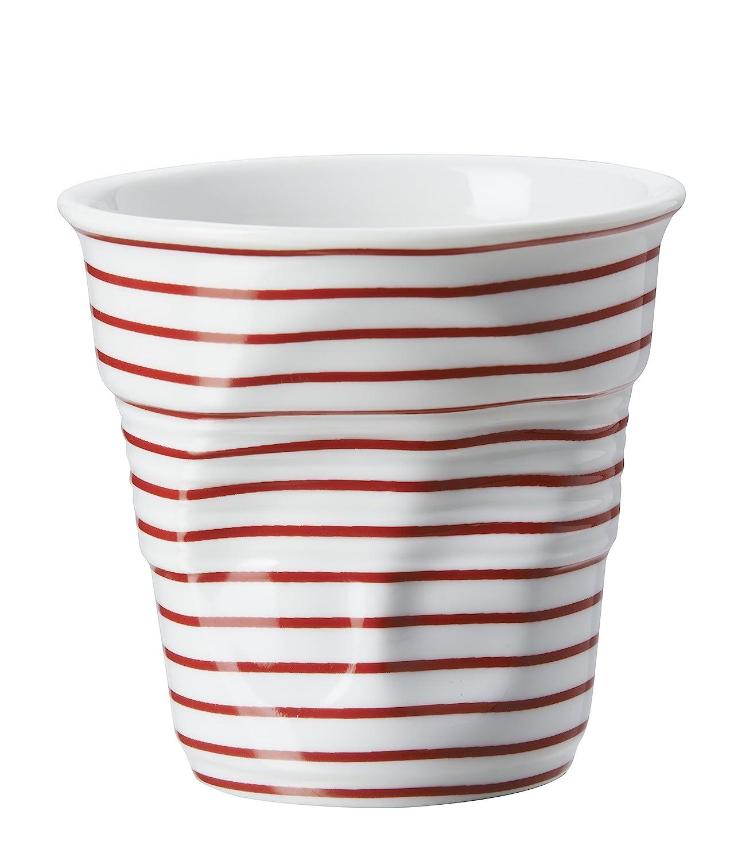 Revol France Bicchiere Accartocciato da Cappuccino a Strisce in Porcellana, 180 ml, Bicchiere da Cappuccino, Bicchiere da Caffè, Bianco / Rosso, RV646080 Revol USA