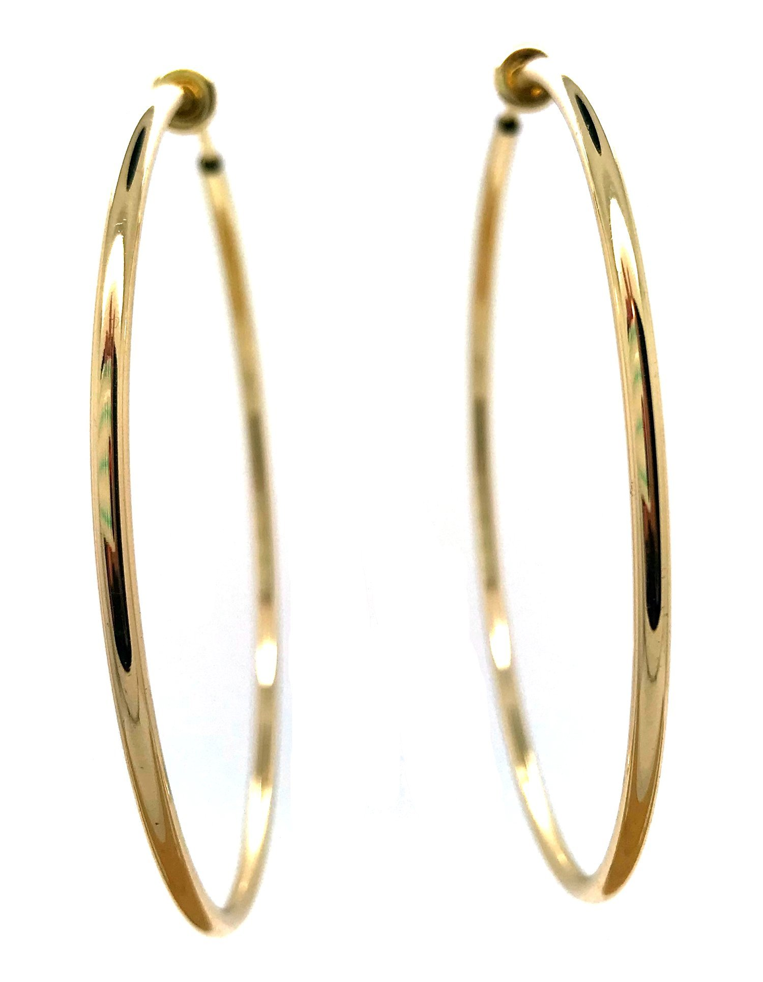 Gold Plated Brass Spring Hoops Earrings Clip On-Small, Medium & Large Hoops for Women & Girls, Unpierced (Gold XXL)