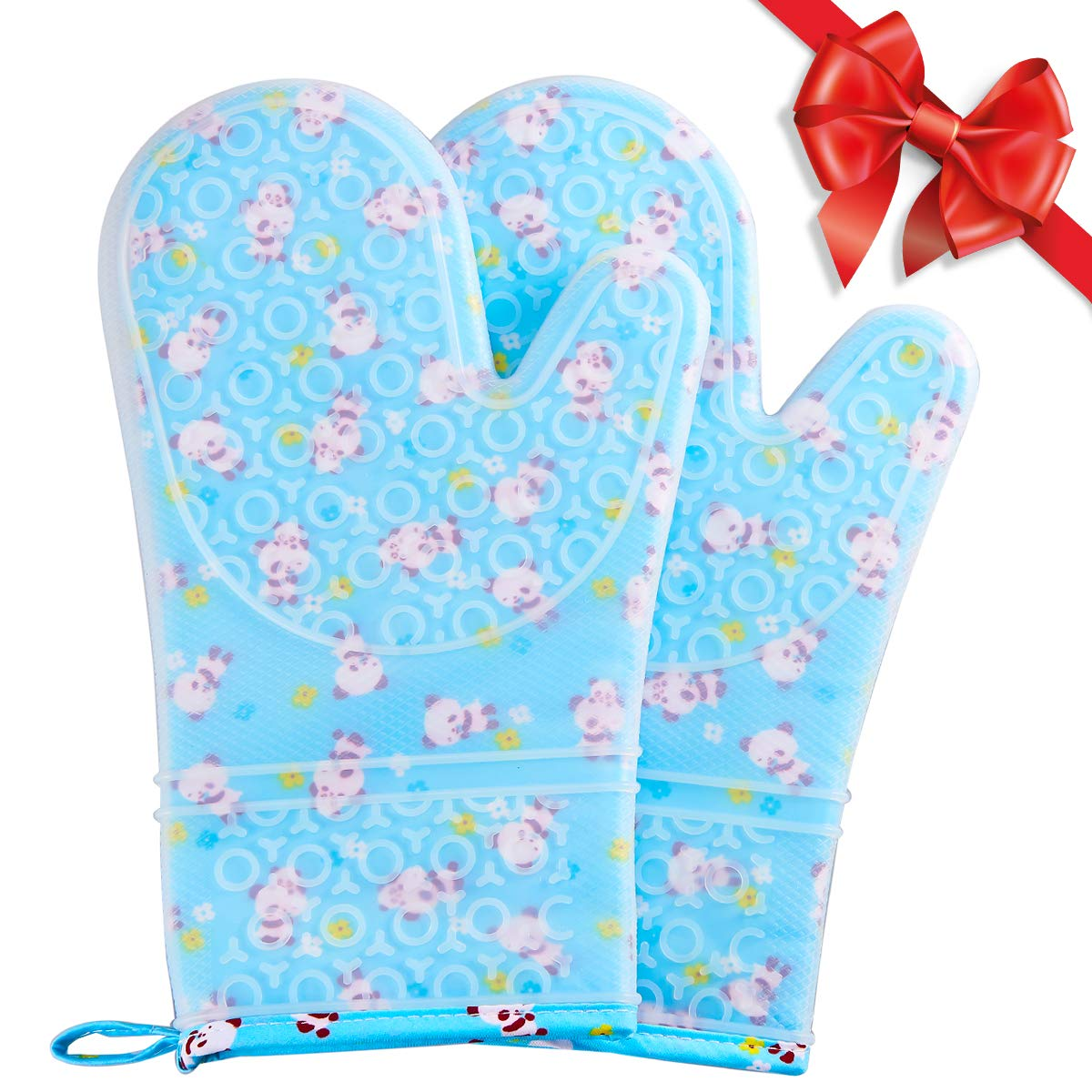 FAVIA 1 Pair Non Slip Silicone Oven Mitts with Printing Cotton Lining Extra Long Gloves for Kitchen Cooking Baking Heat Resistant Up to 480℉ 250℃ Waterproof BPA Free (Medium, Blue Base with Panda)