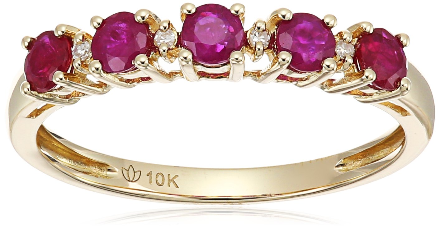 10k Yellow Gold Ruby and Diamond Accented Stackable Ring, Size 7
