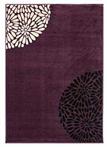 The Rug House Tapis de Salon Moderne Violet, Noir et Crème