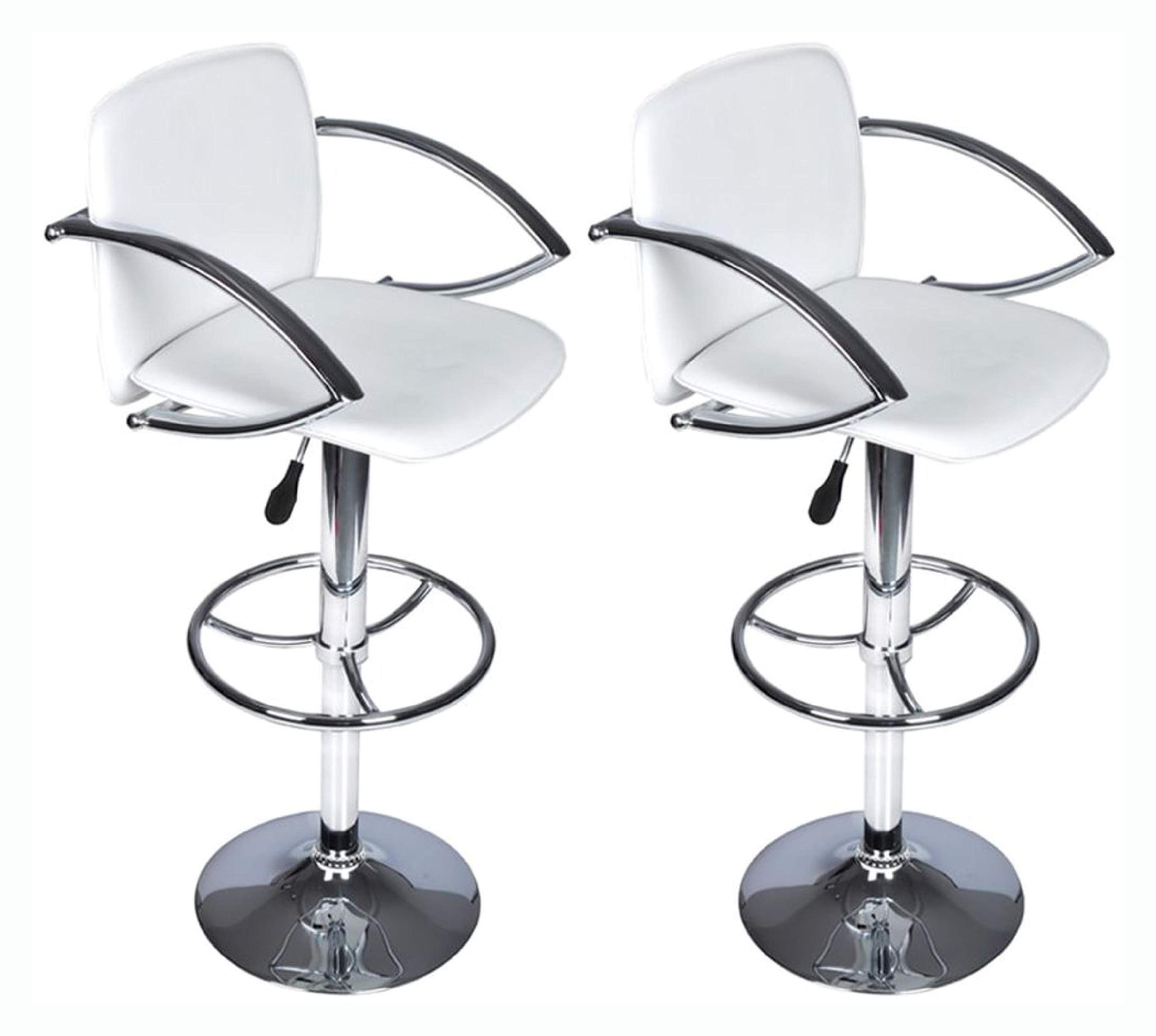 Table & Bar Stool, Set of 2 White Bar Stool with Round Footrest by HomyDelight