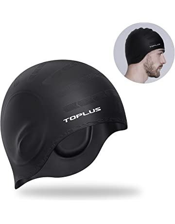 ad05e11cb TOPLUS Swim Cap, Lightweight Silicone Solid Swimming Caps with 5D Ergonomic  Design Ear Pockets for