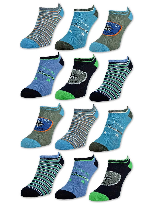 sockenkauf24 6 oder 12 Paar Kinder Sneaker Socken Jungen /& M/ädchen Baumwolle Kindersocken