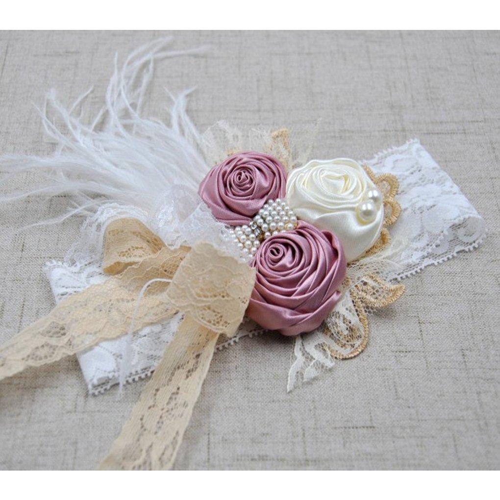 DANMY Luxury Rhinestone Lace Headband Girls Rose Flowers Net Yarn Hair Band Baby Big Bow Hair Accessories (Pink 1pcs)