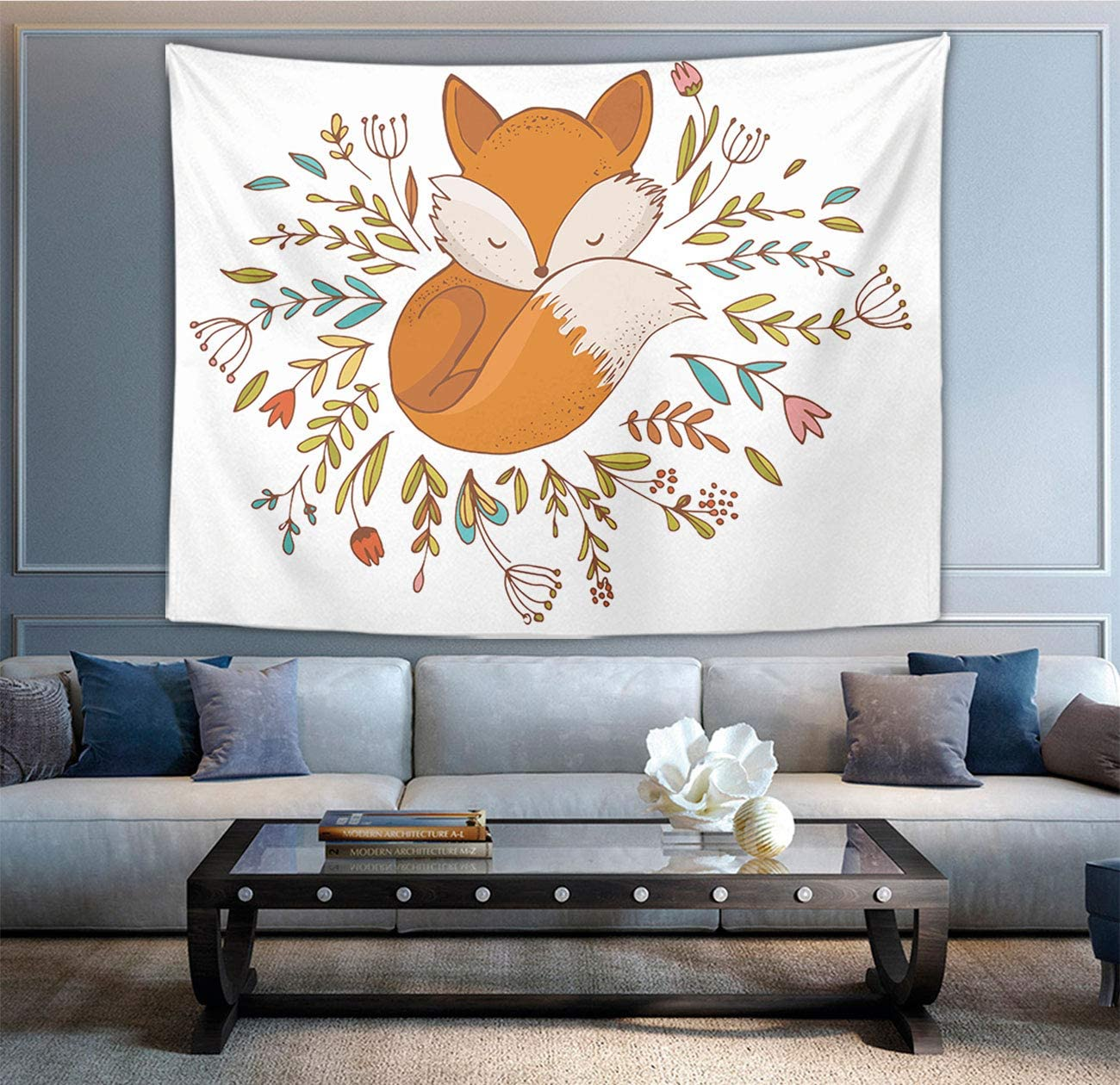 Hippie Wall Tapestry Bedspread Picnic Bedsheet Blanket Wall Art Polyester Fox Sleeping In A Floral Made Bed Circle Tapestries Home Decorations for Living Room Bedroom Dorm Decor in 60×90 Inches