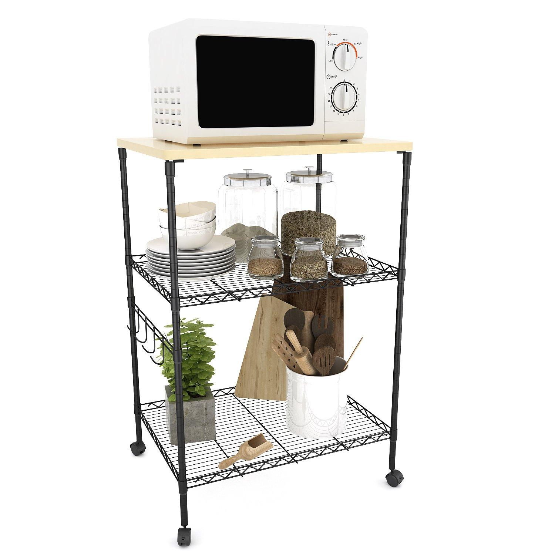 BATHWA Supporto per Ripiano a Microonde Portatile per Carrello da Cucina con Carrello di Ctoccaggio a Microonde in Metallo con 4 Ruote