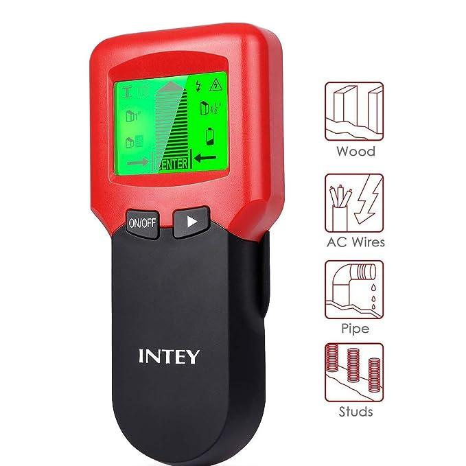 INTEY Detector de Pared multifunción 3 en 1 con Pantalla LCD para Metal, Perno de Madera, Cables de CA, rastreador para tuberías de Metal de Madera