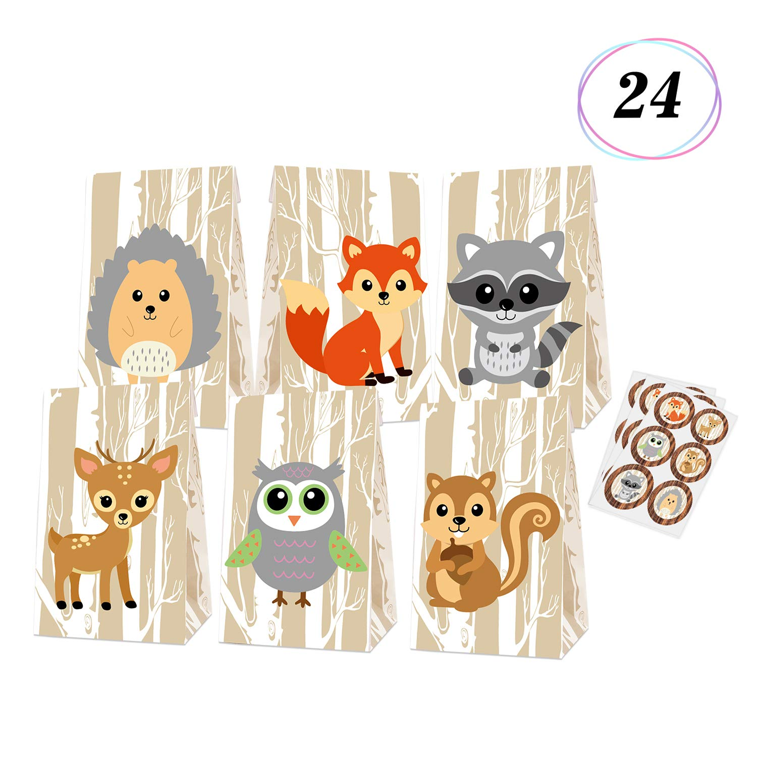 Woodland Creatures Favor Bags Baby Shower Candy Treat Gift Bags for Kids Forest Friends Themed Birthday Party Supplies