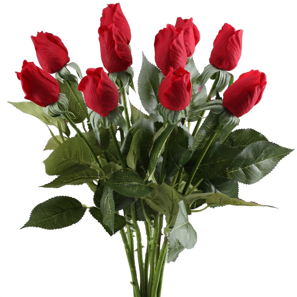 Nahuaa Artificial Rose Flowers, 10PCS Fake Silk Floral Bundles Faux Bride Bouquets Home Kitchen Office Windowsill Floor Vase Wedding Table Centerpieces Arrangements Spring Decorations Red