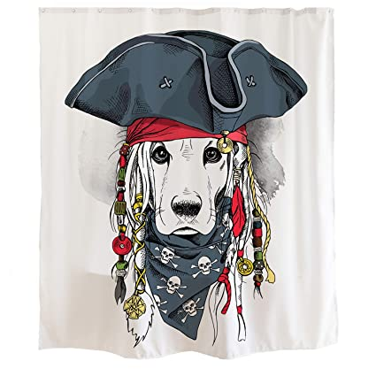 Orange Design Cute Pirate Captain Dog Shower Curtain Hooks 71x71 Labrador