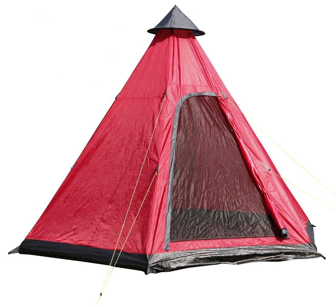 Familienzelt Tipi Rundzelt 350 x 300 cm Pyramidenzelt in Camping Zelt f/ür 4 Personen