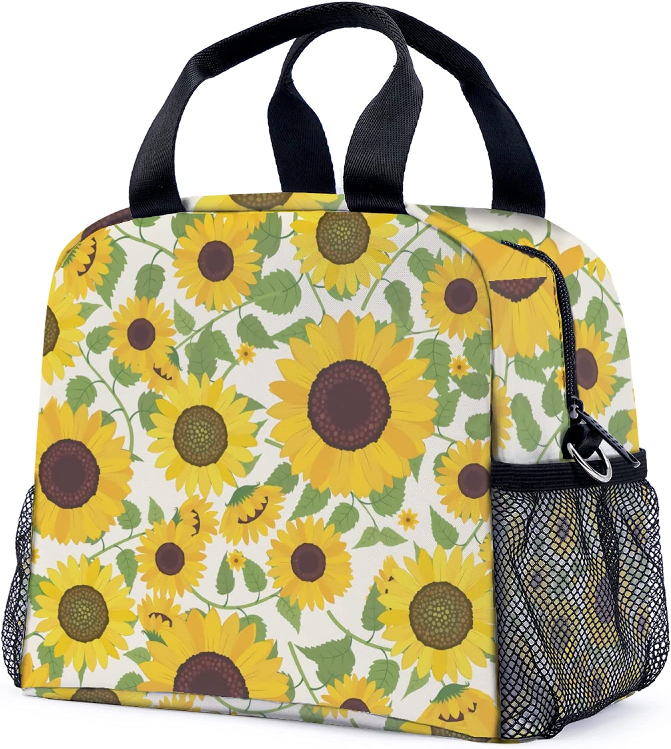 Sunflower Lunch Bag Unisex Insulated Cooler Lunch Tote Bag for Women/Girls/Boys.
