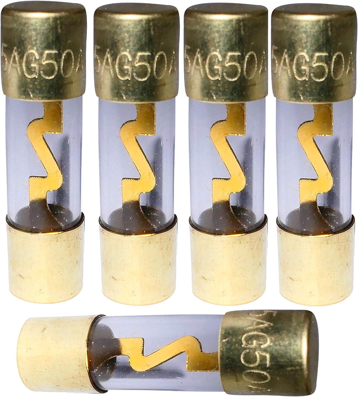 Aerzetix C1883 5 X Sicherungen Agu Glassicherung Für Kfz Auto Verstärker 50a Auto