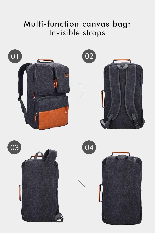 9fcd104ce Amazon.com   Witzman Unisex Vintage canvas rucksack backpack 6633  (One_Size, new black)   Luggage & Travel Gear