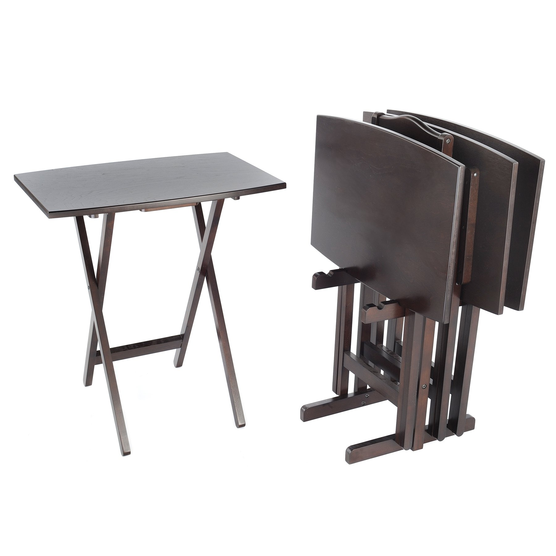 Bay Shore Collection Curve Edge Tray Table Set, 5-Piece Espresso