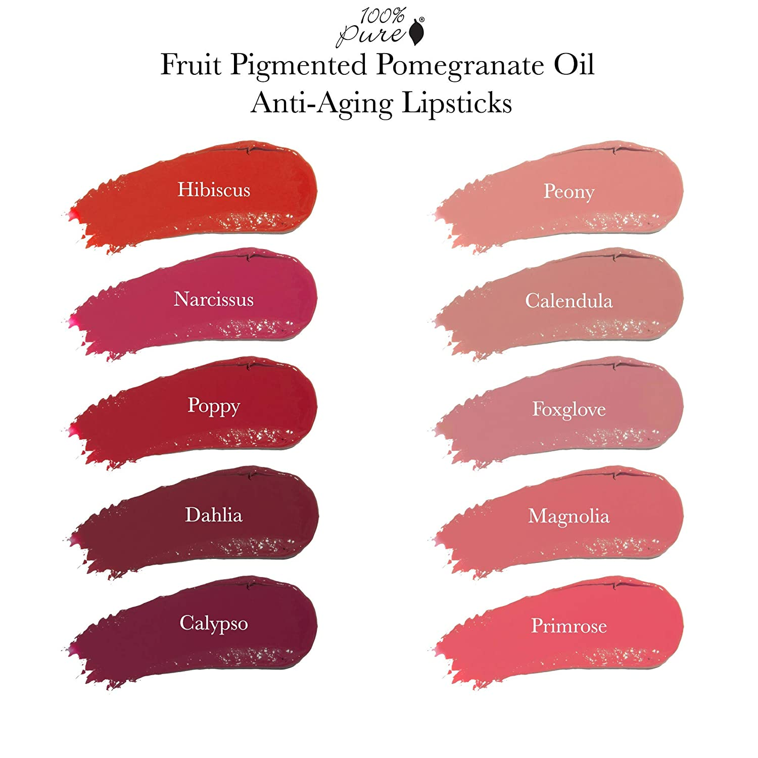 100% Pure Pomegranate Oil Anti Aging Lipstick, Calypso, 0 15 Ounce