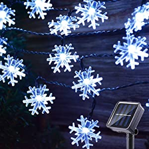 MQ Christmas Snowflake String Lights, Snowflake Christmas Lights Decorations Waterproof Solar Powered 8 Modes 23 ft 50LEDs String Lights for Indoor Outdoor Garden Lawn Home Party Decor