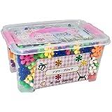 SHOP SHIMATARO フラワーブロック お花のはめこみブロック カラフルフラワー300ピース入りセット 知育玩具 作り方説明書 専用ケース付き