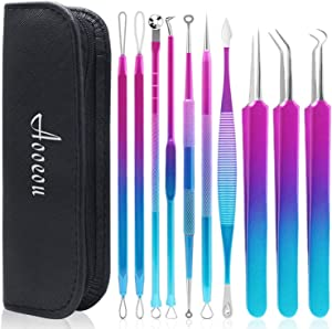 Blackhead Remover Tool Kit, Aooeou 10 Pcs Professional Pimple Popper Tool -Treatment for Pimples, Blackheads, Blemish, Zit Removing, Forehead and Nose(Colorful)