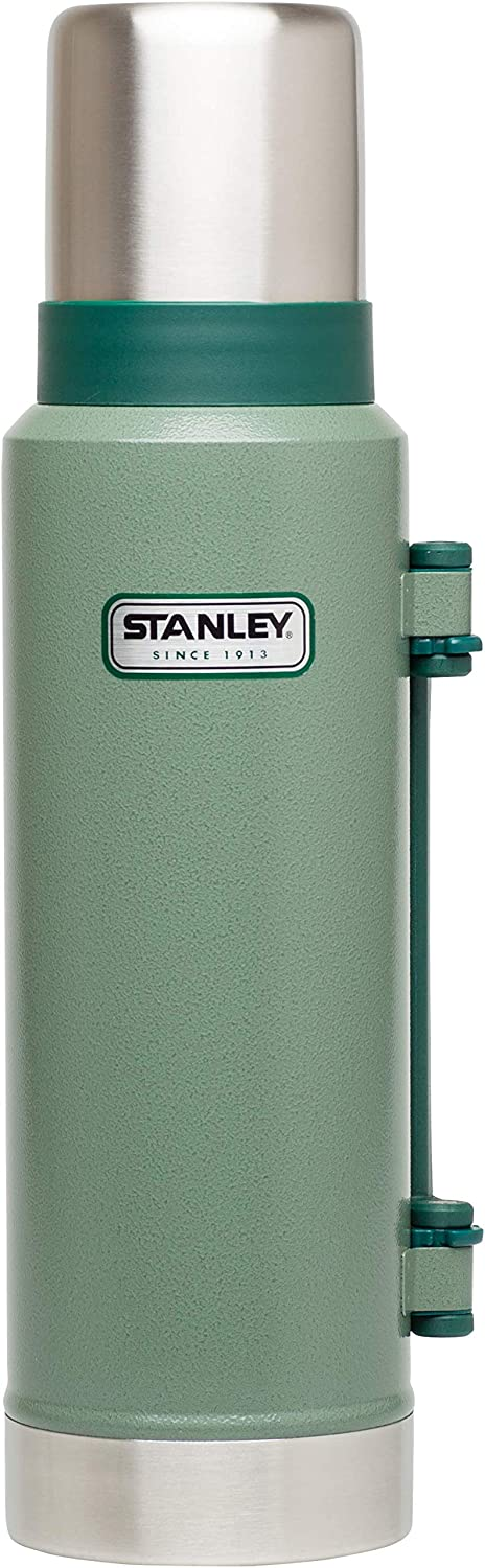 Stanley Legendary Classic Vacuum Bottle 1.3 Liter Hammertone Green Double Wall Vacuum Insulation 18//8 Stainless Steel Leak Proof Packable Insulated Lid Doubles As Cup Unbreakable