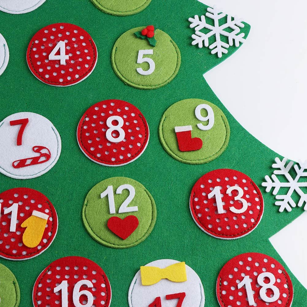 Aytai Fieltro Calendario de Adviento para Niños Cuenta Regresiva para Calendarios de Árboles de Navidad para Decoraciones de Navidad de Regalo de ...