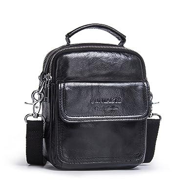 Contacts Mens Genuine Leather Crossbody Single-Shoulder 7 quot  Mini iPad  Messenger Tote Bag Black 79e577a9c1