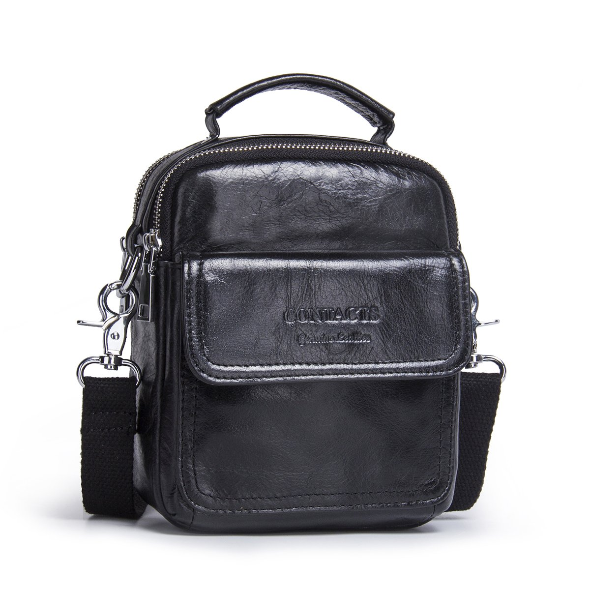 Contacts Mens Genuine Leather Crossbody Single-Shoulder 7'' Mini iPad Messenger Tote Bag Black