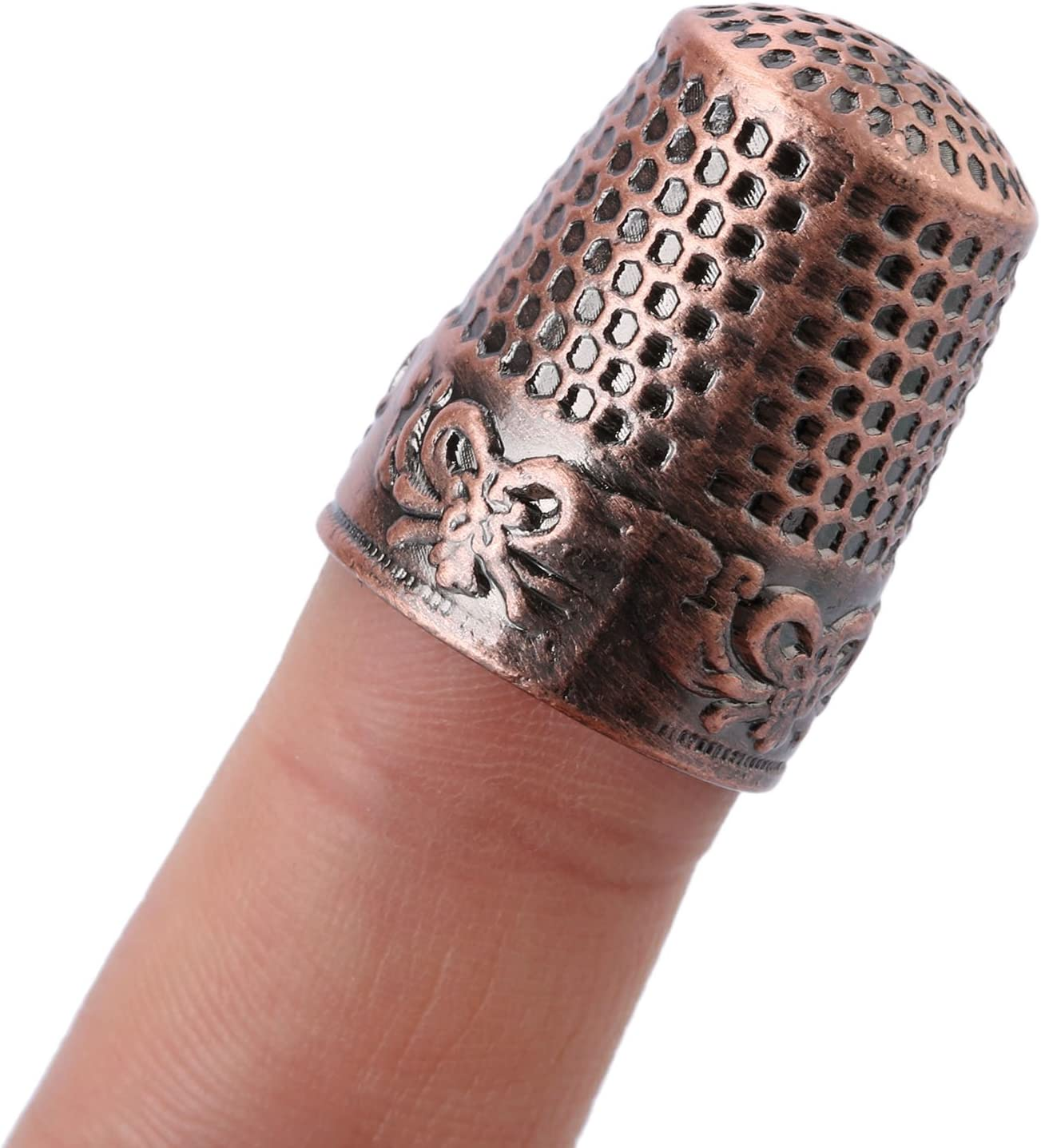 1Pc Red Bronze Finger Thimble Sewing Grip Fingertip Protector Metal Shield Pin Needles Partner for DIY Crafts Tools Needlework