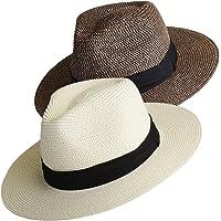 FURTALK Summer Panama Straw Fedora Hat Wide Brim Beach Sun Hat with Neck Cord