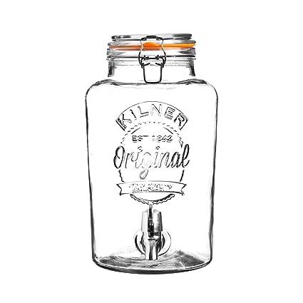 KILNER - dispensador de Bebidas de Cristal Redondo, de 5 litros, Parte Superior de