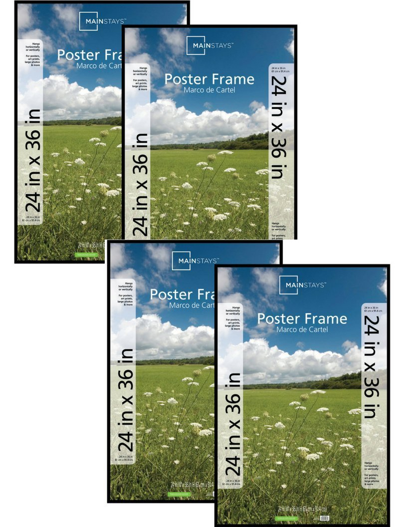 Amazon.com: Mainstays 24x36 Basic Poster & Picture Frame, Black, Set ...