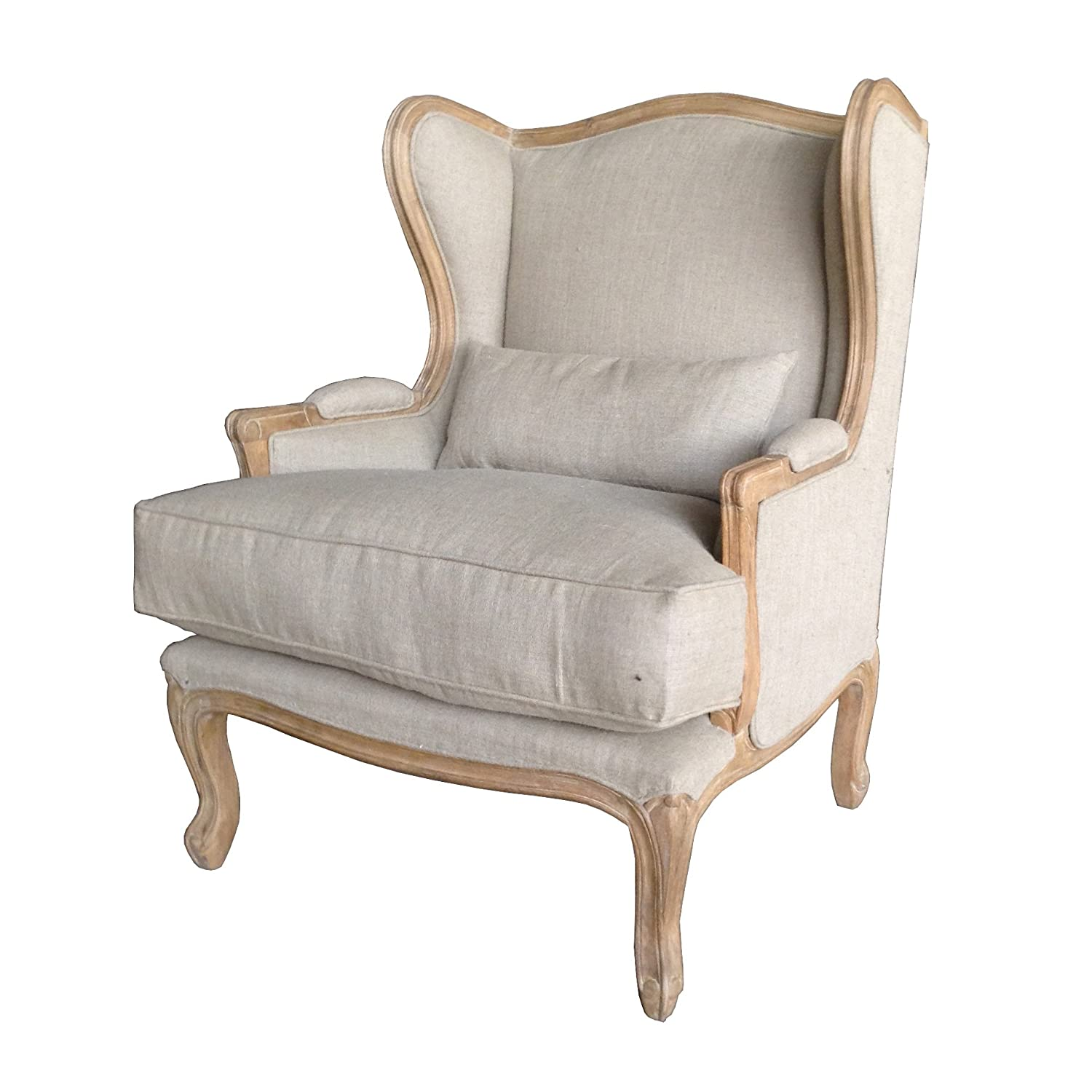 A Beautiful Carved French Style Shabby Chic Small Wing Chair / French  Armchair, Lounge Furniture In Retro Touch Finish. Upholstery In Natural  Linen With ...