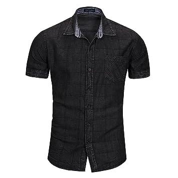 brand new dd10d 2cefd YYD@ Camicia di Jeans A Manica Corta da Uomo Nera Camicia da ...