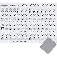 Anpro Klavier Aufkleber Noten Aufkleber für 49 | 61 | 76 | 88 Keyboards + Reinigungstuch, Piano Sticker Transparent und abnehmbar, EINWEG