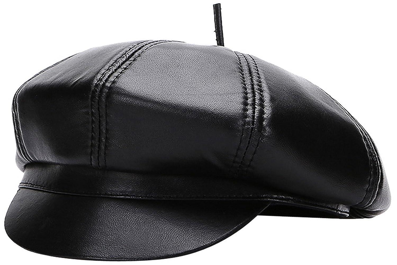 GEMVIE Ballonmütze Damen Leder Newsboy Cap Schwarz Schirmmütze Winter Baker Boy Cap