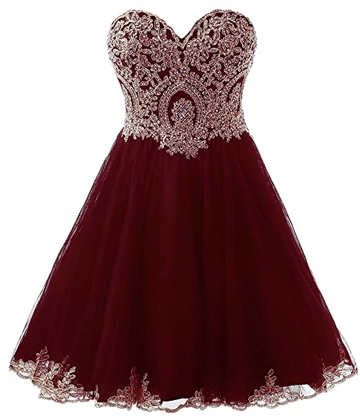 Review Belle House Junior's Lace Short Prom Party Ball Gowns Sweetheart Homecoming Dresses