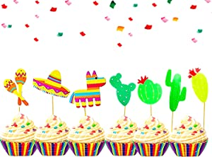 42 Pcs JeVenis Fiesta Cupcake Toppers Mexican Fiesta Party Cake Decoration for Mexican Themed Cactus Donkey Taco Pepper Sombrero Mustache Party Decorations