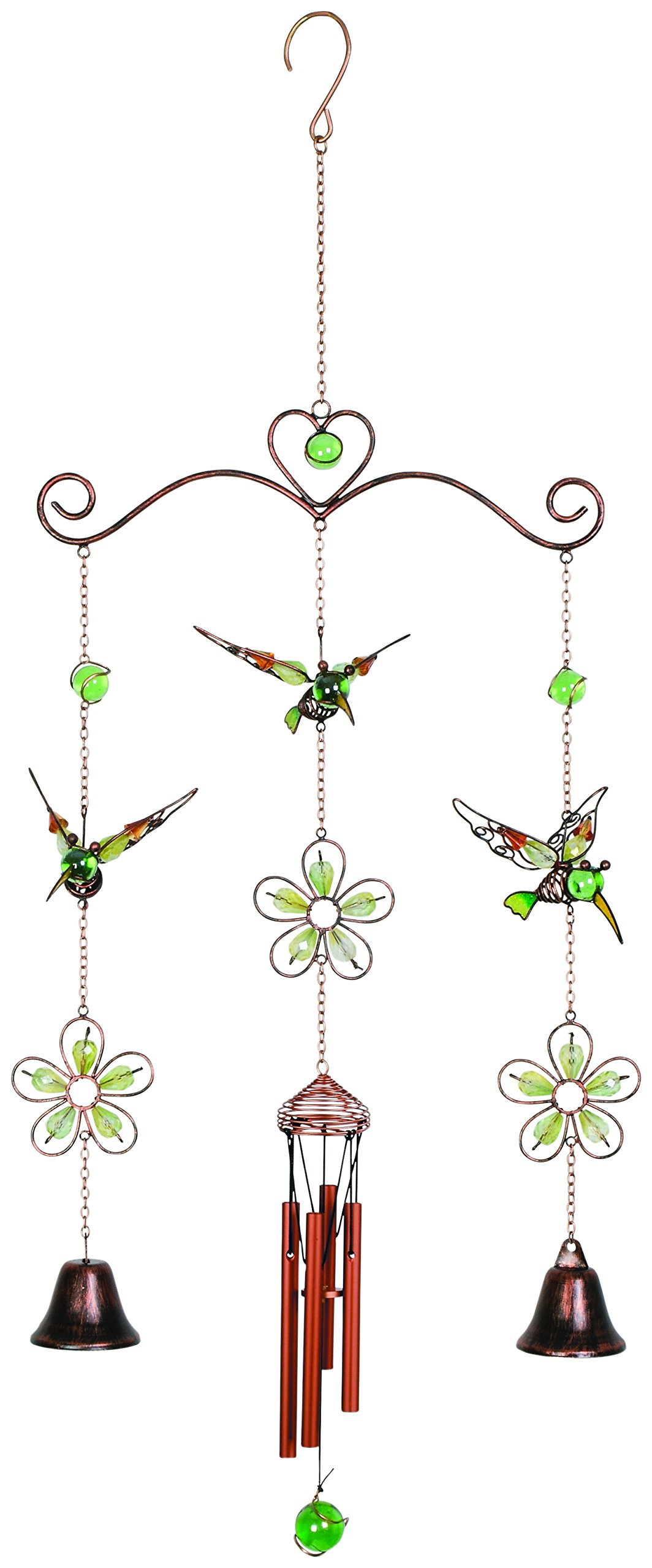 Carson Home Accents 35'' Bells & Hummingbird Wireworks Garden Chime