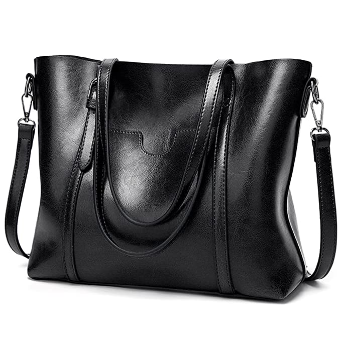 c688dffee5 Amazon.com  UTO Women Tote Bag Soft PU Leather Shoulder Bags Large Capacity  Shopper Handbag Black  Clothing