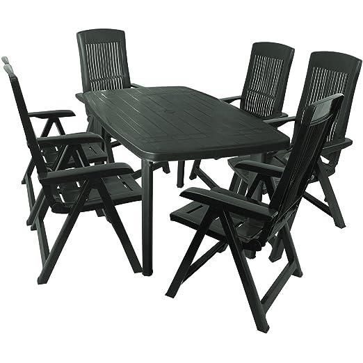 7 piezas muebles de jardín jardín mesa 138 x 87 cm 6 x 5 ...