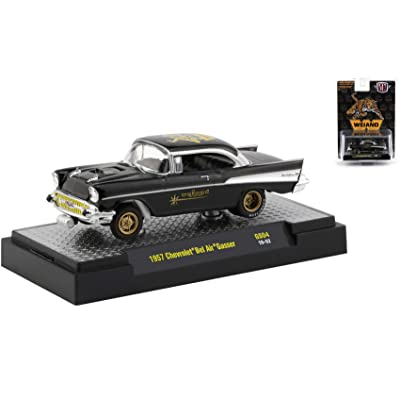1957 Chevrolet Bel Air Gasser Black Weiand Hobby Exclusive Limited Edition to 3,600 pcs Worldwide 1/64 Diecast Model Car by M2 Machines 31600-GS04: Toys & Games