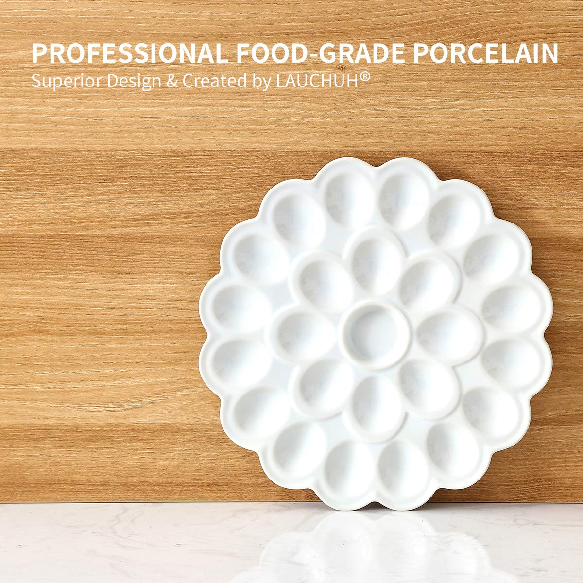 13.5-inch Porcelain Deviled Egg Tray/Dish White Ceramic Egg Platter with 25-Compartment by LAUCHUH (Image #3)