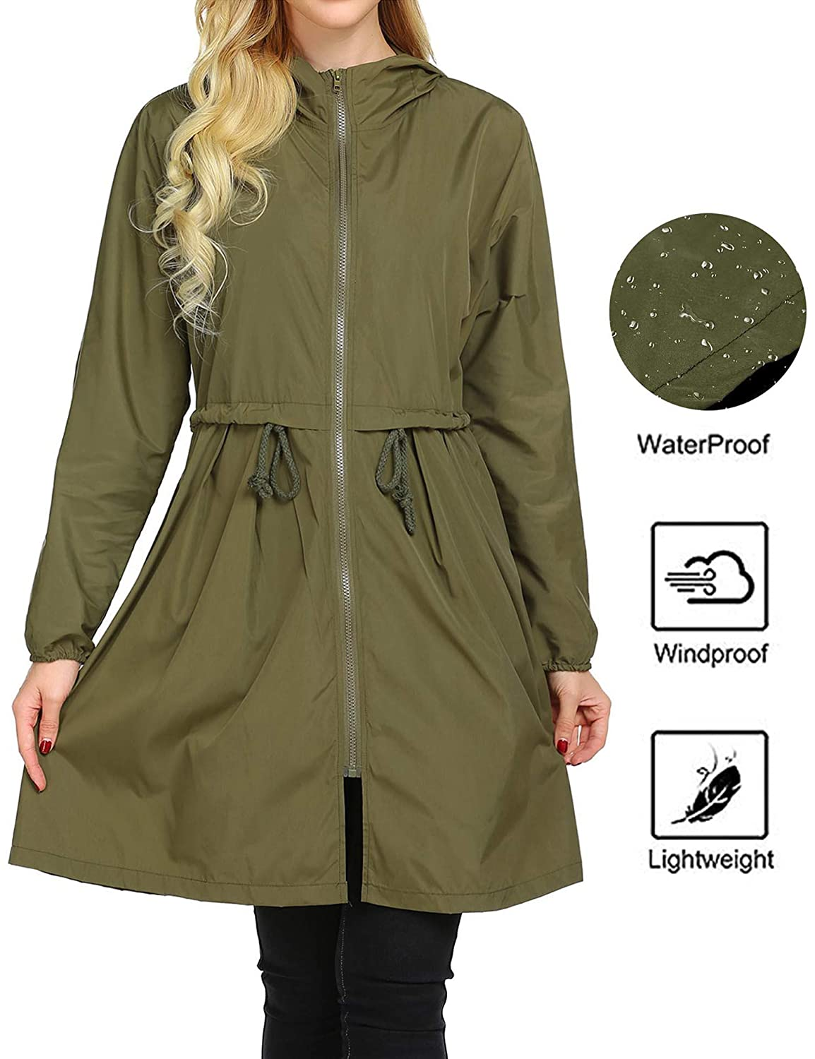 c520b6e62 Amazon.com: Mofavor Women's Hooded Long Sleeve Lightweight Waterproof Rain  Jacket Raincoat: Clothing