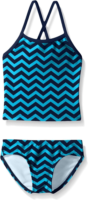 Kanu Surf Girls Big Melanie Beach Sport 2-Pc Banded Tankini Swimsuit 10 Alexa Blue Chevron